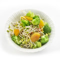 Fresh healthy radish sprout salad with apricot and broccoli served in a small bowl a soft shadow shot from above Stock Images