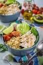 Fresh healthy salad in bowl and ingredients Royalty Free Stock Photo