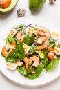 Fresh, healthy salad with shrimps, spinach and avocado on a marb Royalty Free Stock Photo