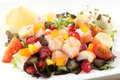 Fresh and healthy shrimp salad with berries Royalty Free Stock Photo