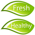 Fresh and Healthy  sign/icon Royalty Free Stock Photo