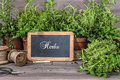 Fresh Herbs With Chalkboard An...