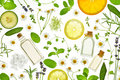 Fresh herbs,fruits and essential oil Royalty Free Stock Photo
