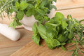 Fresh herbs with a mortar and pestle Royalty Free Stock Photo