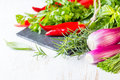 Fresh herbs, oil and seasoning. healthy food concept