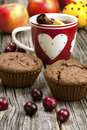 Fresh home baked muffins with hot tea still life cup and Royalty Free Stock Image
