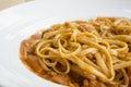 Fresh homecook spaghett on wooden table Royalty Free Stock Photo