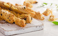 Fresh homemade Bread Sticks with herbs Royalty Free Stock Photo