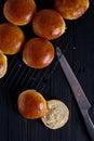 Fresh homemade burger buns Royalty Free Stock Photo
