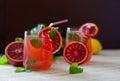 Fresh homemade lemon mint and blood orange lemonade. Royalty Free Stock Photo