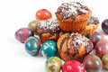 Fresh homemade pastries festive composition cakes and painted eggs Stock Photos
