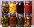 Fresh homemade preserved vegetables and fruits Royalty Free Stock Images