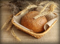 Fresh homemade rye bread in basket Royalty Free Stock Photo