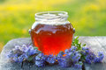 Fresh honey and flowers outdoor composition Royalty Free Stock Image