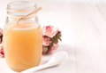 Fresh honey jar with spoon and copyspace Stock Photos