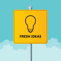 Fresh ideas vector illustration of road sign with light bulb Stock Photos