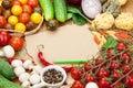 Fresh ingredients for cooking: pasta, tomato, cucumber, mushroom Royalty Free Stock Photo