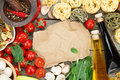 Fresh ingredients for cooking: pasta, tomato, mushroom and spice Royalty Free Stock Photo