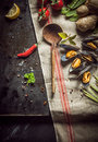 Fresh ingredients for a gourmet seafood dinner Royalty Free Stock Photo