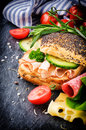 Fresh ingredients for healthy sandwich making closeup Royalty Free Stock Image