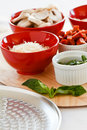 Fresh ingredients for pizza dressing Stock Images