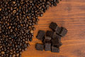 Fresh invigorating coffee with chocolate in the early morning Royalty Free Stock Images