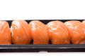 Fresh japanese salmon sushi in plate on white background Royalty Free Stock Photo