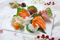 Fresh Japanese Sushi Salmon Platter Royalty Free Stock Photo