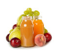 Fresh juice and fruit on white background Royalty Free Stock Photography
