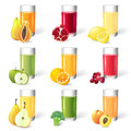 Fresh juice with fruits in glasses Stock Photo