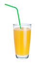Fresh juice in glass and drinking straws on white background Stock Images