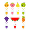Fresh juice and glasses. Apple, strawberry, pear, orange, grape, watermelon, pineaple fruit with faces. Smiling cute Royalty Free Stock Photo