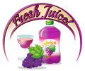 A fresh juice label with grapes Royalty Free Stock Photo