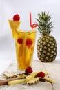 Fresh juice with pineapple slice Royalty Free Stock Photo