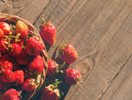 Fresh juicy berries of strawberry in a wattled basket Royalty Free Stock Photo