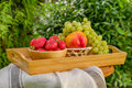 Fresh juicy fruit on the natural background Royalty Free Stock Photo