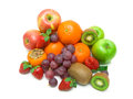 Fresh juicy fruits on white background isolated a top view horizontal photo Stock Photo