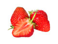 Fresh juicy and healthy strawberry isolated over white red on Royalty Free Stock Image