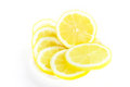 Fresh juicy lemon slices on white Royalty Free Stock Photography