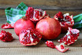 Fresh juicy pomegranates on the heap food closeup Royalty Free Stock Photography