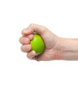 Fresh juicy tasty green lime in a human hand isolated on a white Royalty Free Stock Photo