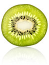 Fresh kiwi slice very detailed closeup photo of on white separated background with reflection Stock Photos