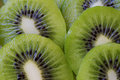 Fresh kiwi slice on white plate background Stock Photo