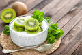 Fresh kiwi yogurt with fruits and chia seeds Royalty Free Stock Photo