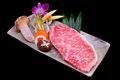 Fresh Kobe Miyazaki beef decorate with mushroom, asparagus corn, Royalty Free Stock Images