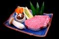 Fresh Kobe Miyazaki beef decorate with mushroom, asparagus corn, Stock Photography