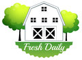 A fresh daily label with a barn Royalty Free Stock Photo