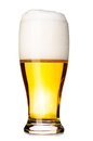 Fresh lager beer glass of cut out from white Royalty Free Stock Image
