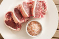 Fresh Lamb Meat Chops on Plate with Salt Royalty Free Stock Photo