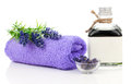 Fresh lavender blossoms with Natural handmade lavender oil Royalty Free Stock Photo